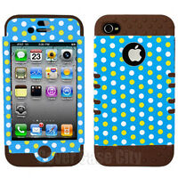 Polka Dots on Light Blue Brown Impact Hybrid Hard Cover Case Apple iPhone 4 4S