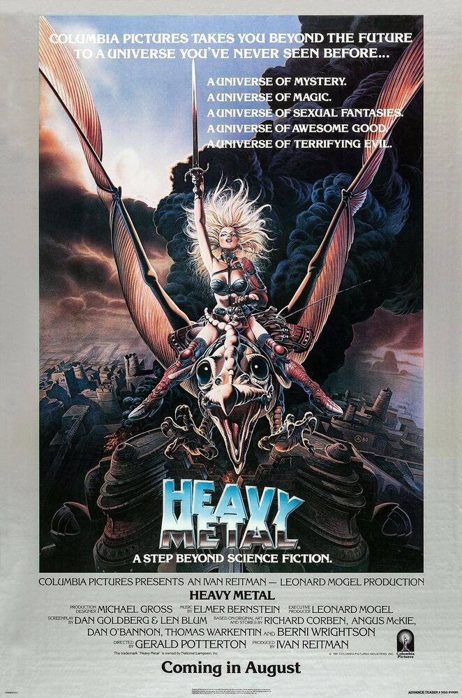 heavy metal movie silk fabric poster 1981 rolled sci fi animation ebay. Black Bedroom Furniture Sets. Home Design Ideas