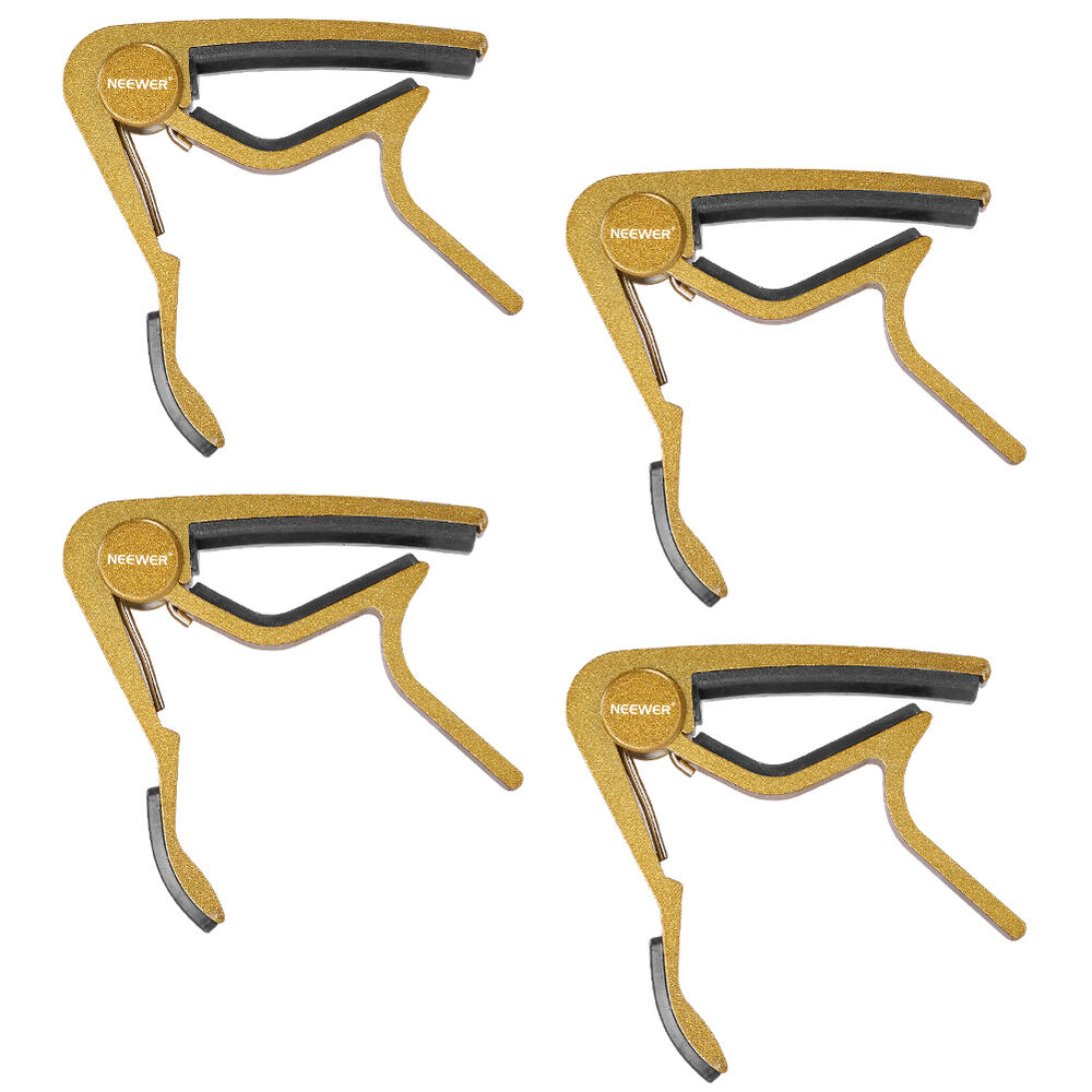 neewer golden capo quick change for electric or acoustic 6 string guitar 4 pack 692753850911 ebay. Black Bedroom Furniture Sets. Home Design Ideas