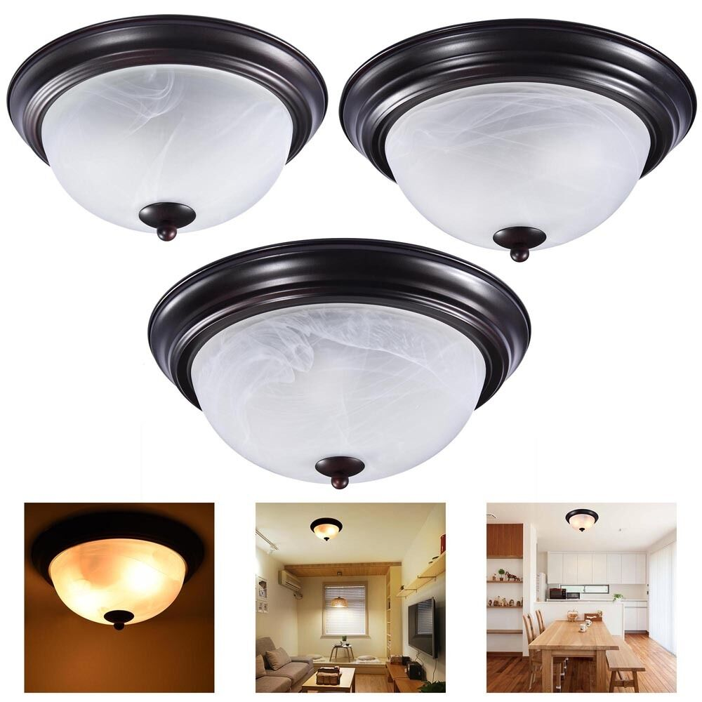 "11"" 13"" 15"" Oil Rubbed Bronze Flush Mount Ceiling Light"