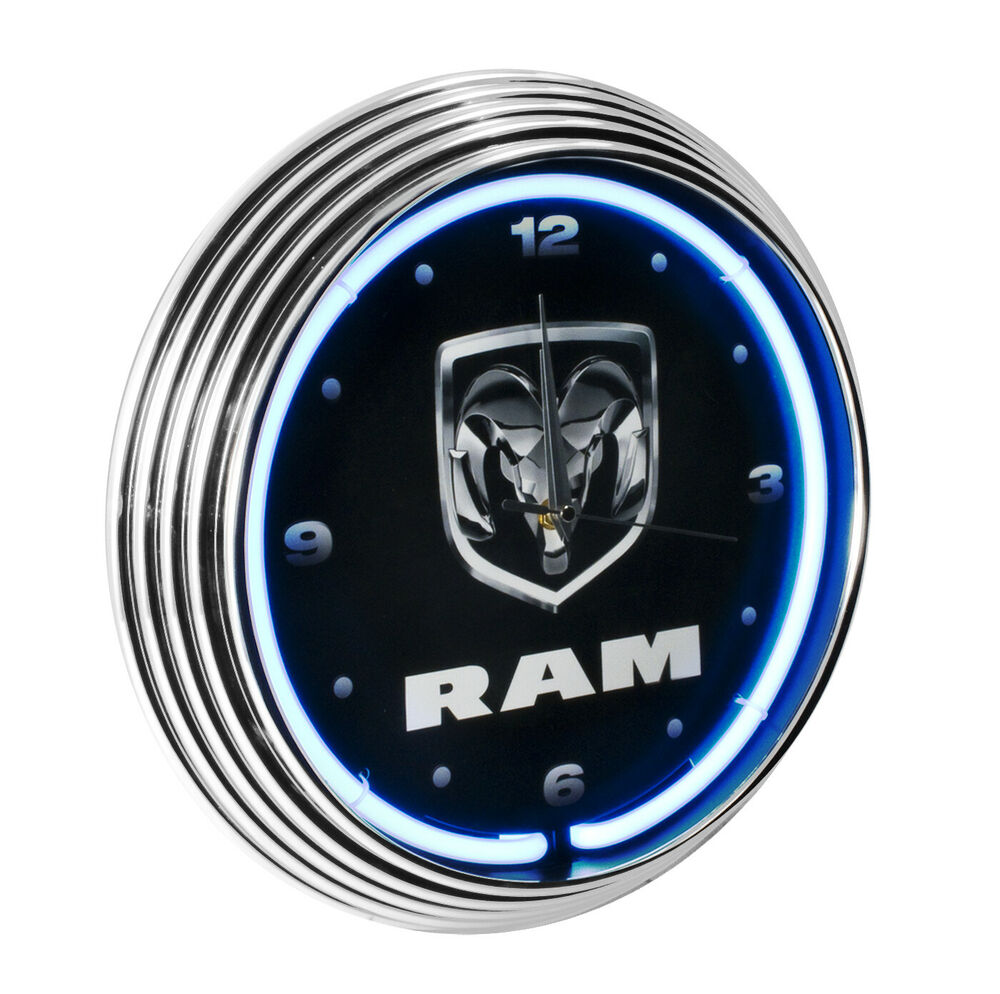 Dodge Ram White Neon Light Up Lighted Garage Wall Clock