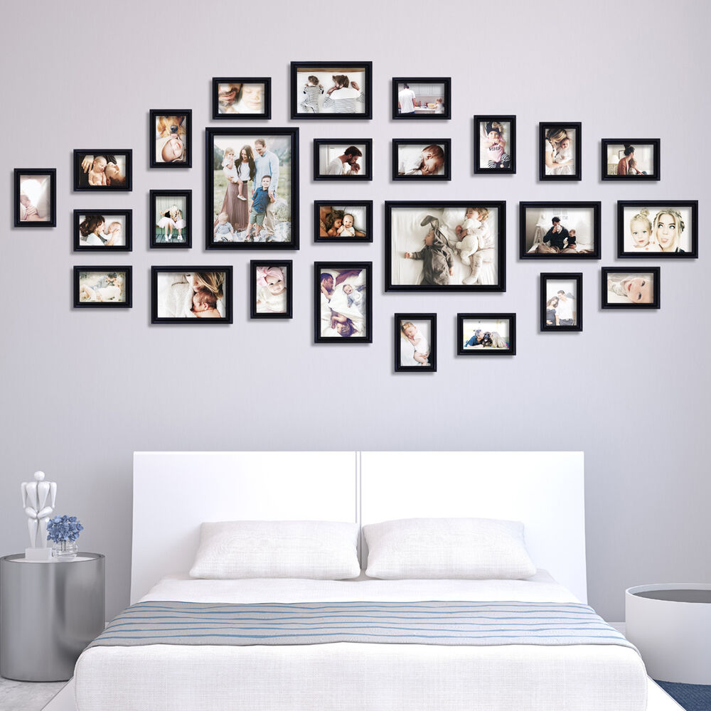 us 26 piece family set wall photo frame art home decor picture collage black ebay. Black Bedroom Furniture Sets. Home Design Ideas