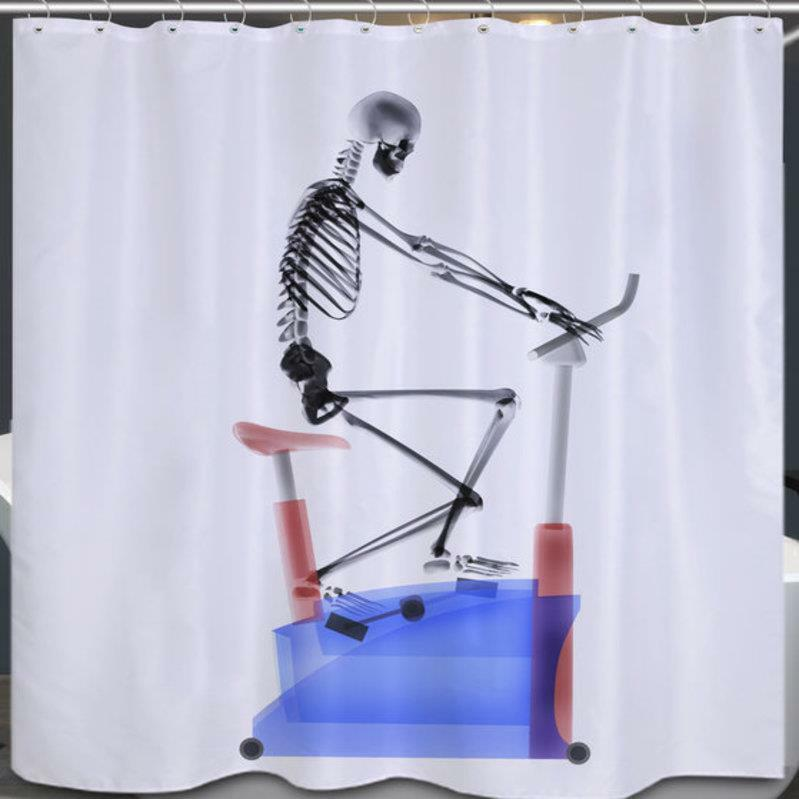 Details About Skeleton On Exercise Bike Bathroom Shower Curtain Polyester Hooks