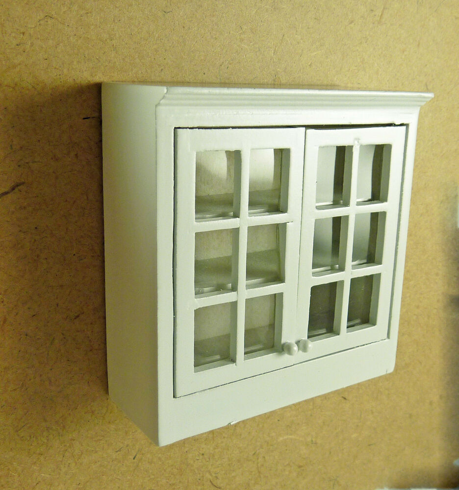 miniature white upper kitchen cabinet faux glass doors t5374 ebay
