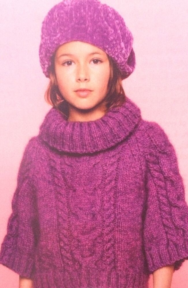 Girls Poncho Style Jumper ( Age 4 - 12 years ) Knitting ...