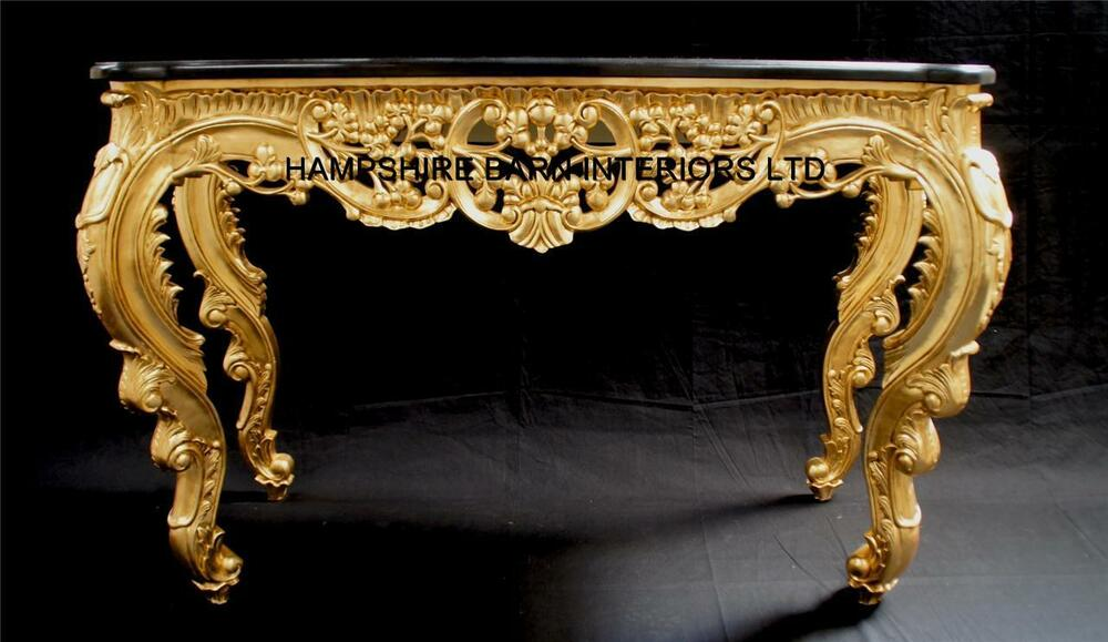 Ritz gold leaf ornate console table w black marble top display entrance hall ebay - Ornate hall table ...