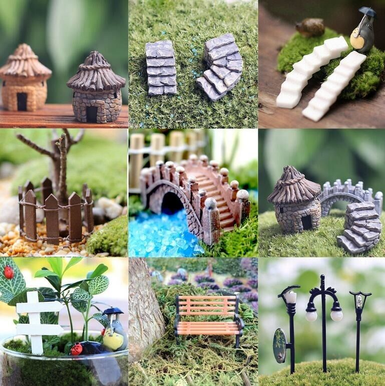 New diy figurine craft plant pot garden ornament miniature for Homemade garden decor crafts
