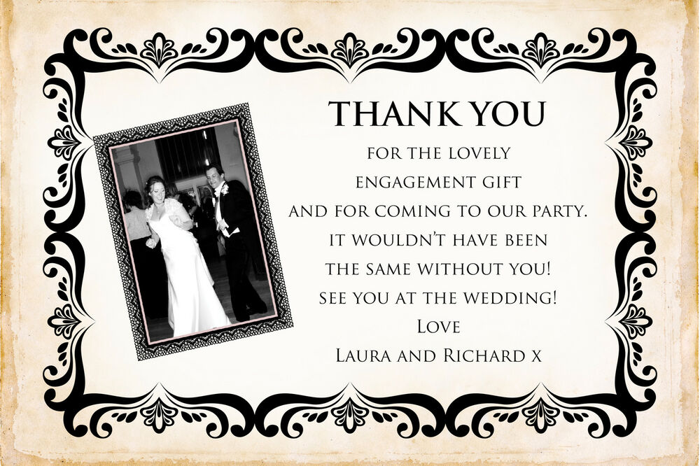 Personalised Black Photo Engagement Party Thank You Cards Inc
