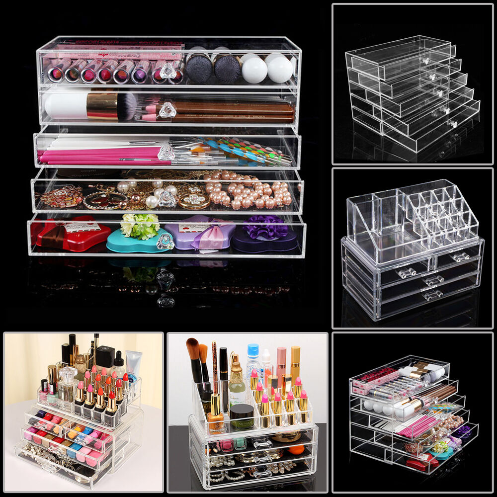 Acrylic Cosmetic Makeup Case Drawers Holder Organizer
