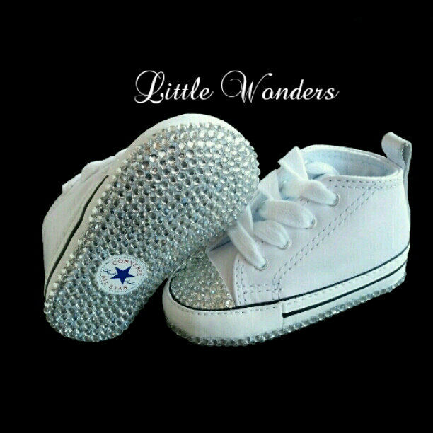 769a7d3030cb Details about Swarovski Rhinestone Infant Baby Unisex White Converse Shoes