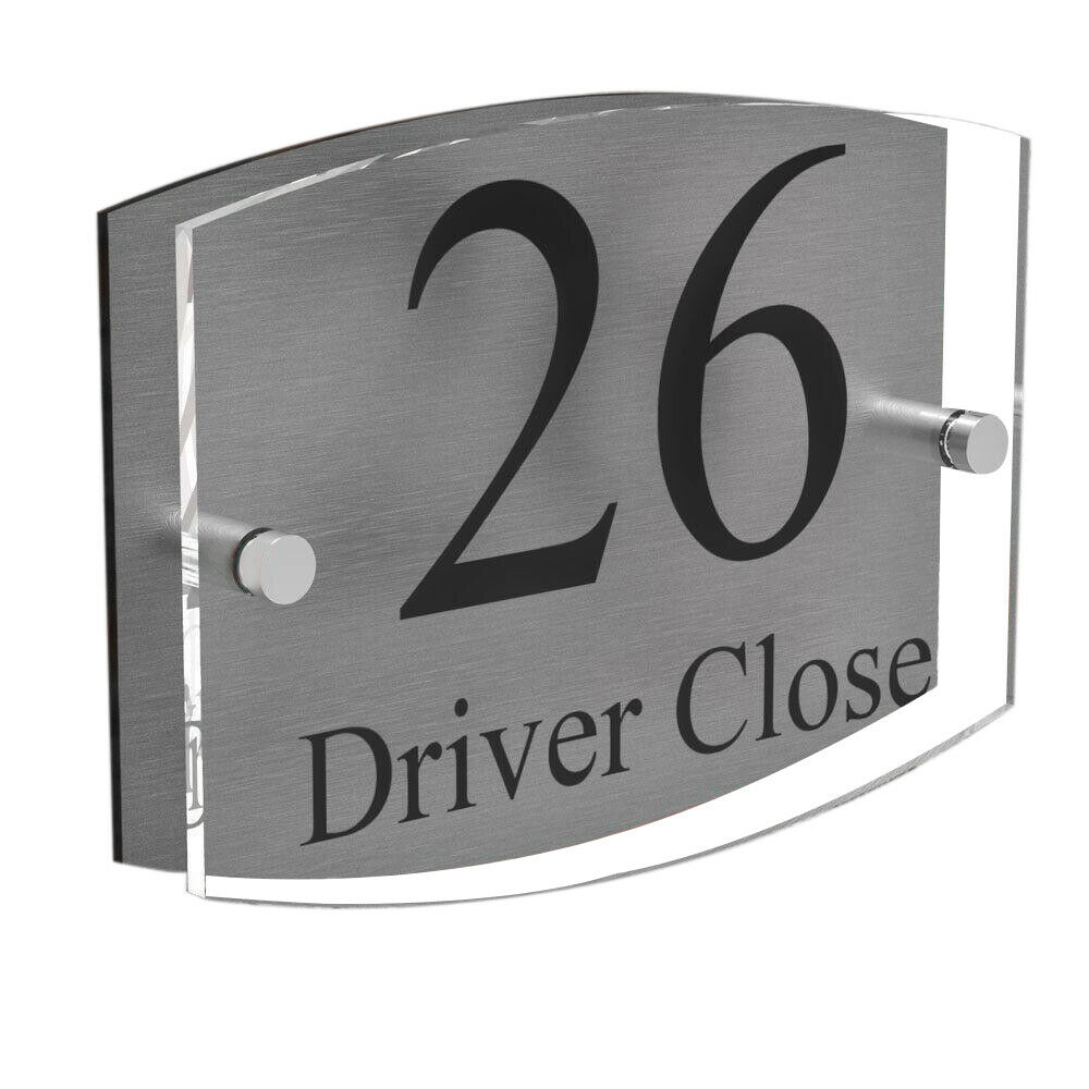 Clear acrylic house sign modern brushed aluminium door for Modern house number plaques