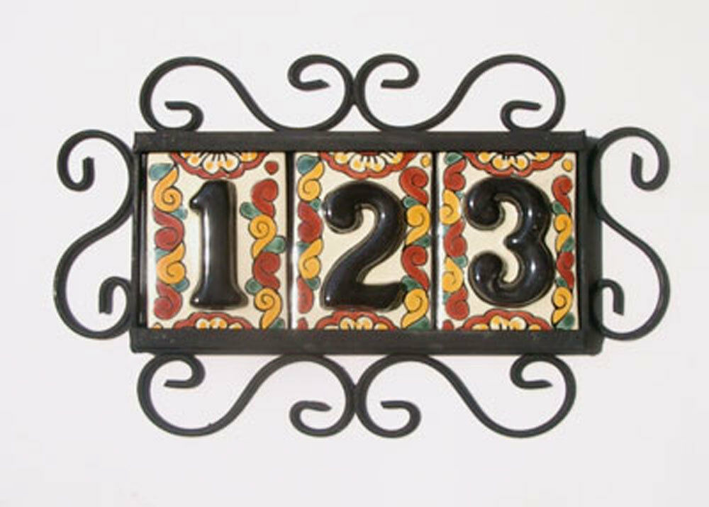 3 black mexican tiles house numbers high relief for House number frames