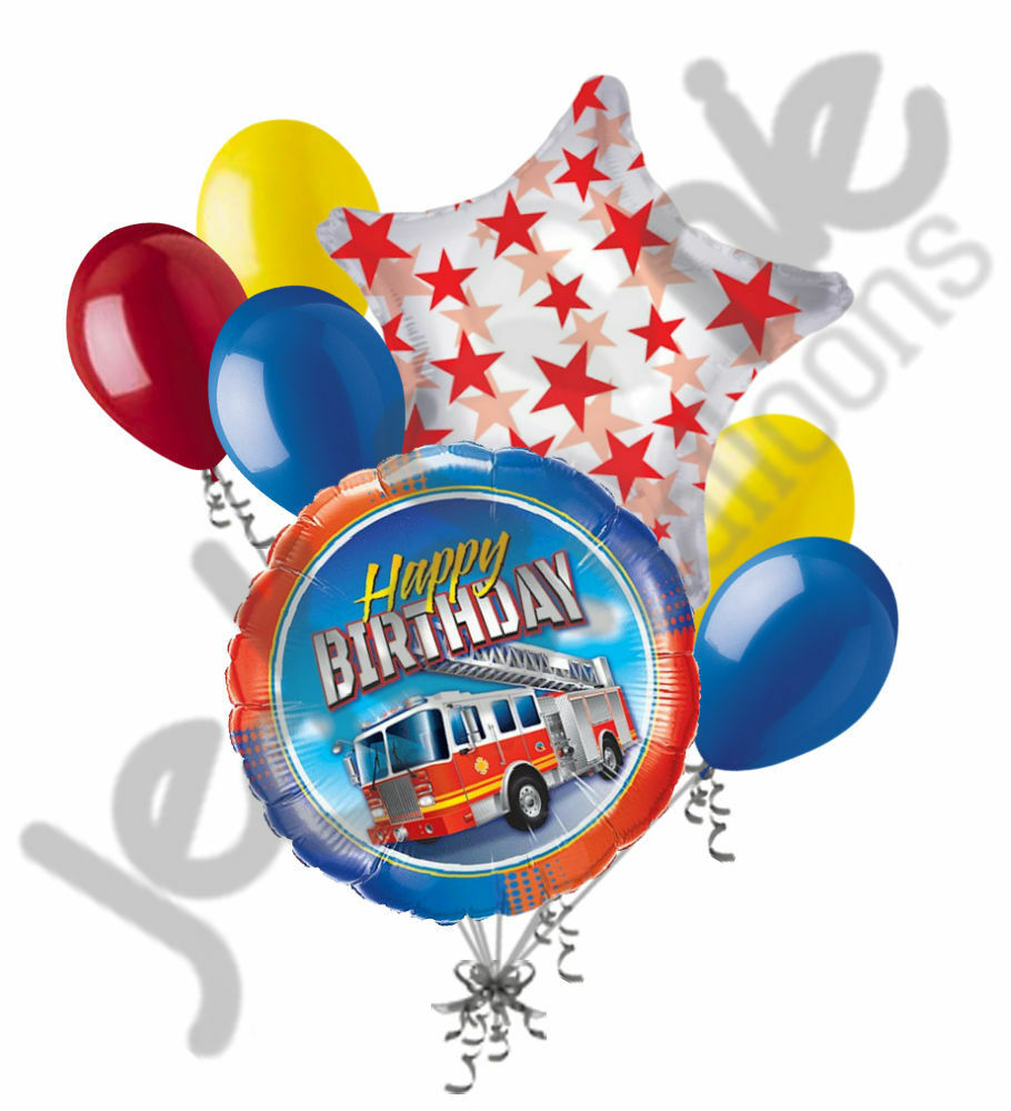7 pc fire truck happy birthday balloon bouquet party for 7 star balloon decoration