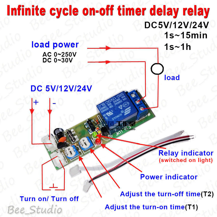 Light Timer Wiring Diagram Simple Guide About On Delay Dc 5v 12v 24v Infinite Cycle Timing Relay Street Switch