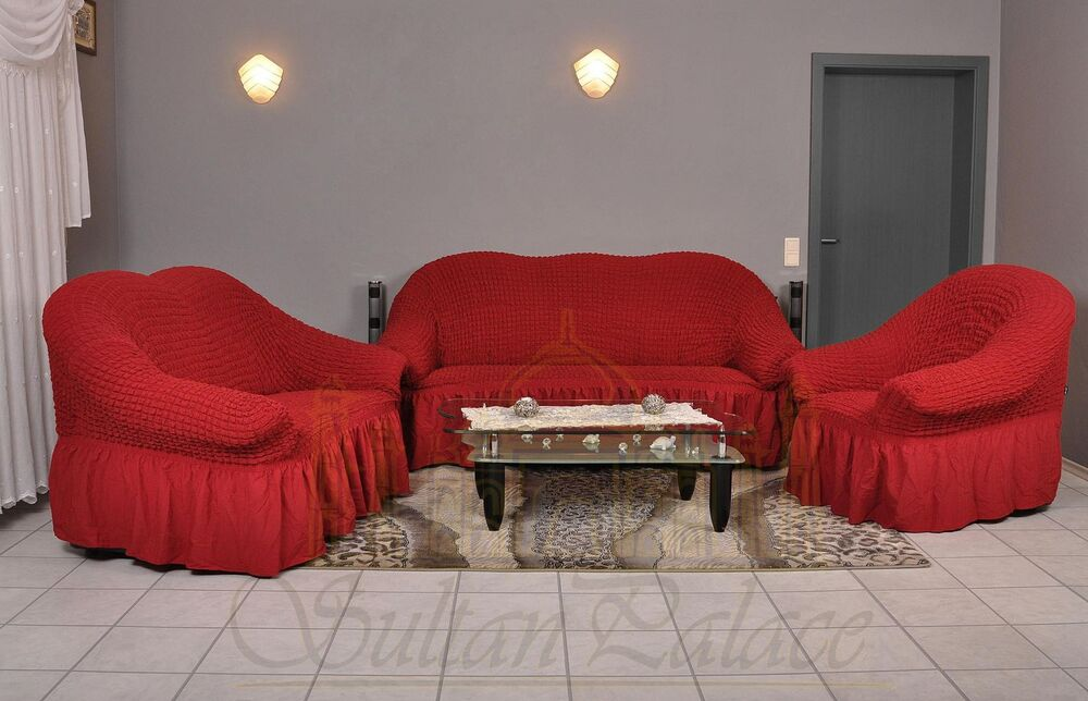 sofabezug 3er 2er 1er sofa bezug husse berwurf spannbezug weinrot bordeaux bord ebay. Black Bedroom Furniture Sets. Home Design Ideas