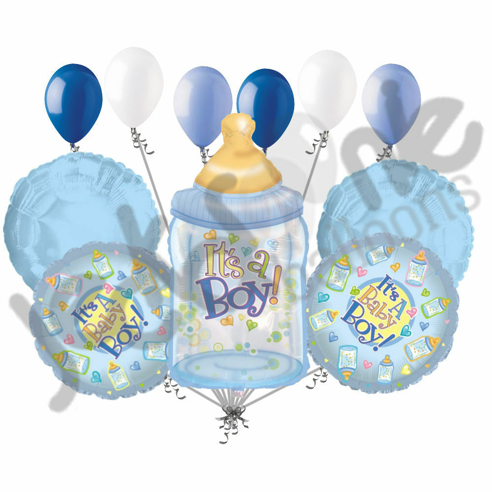 11 pc it 39 s a boy bottle balloon bouquet decoration baby for Baby welcome home decoration