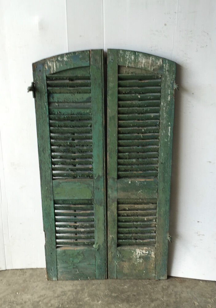 Pair Vtg Arch Top House Window Wood Louvered Shutters Shabby 13x48 Old 1031 16 Ebay