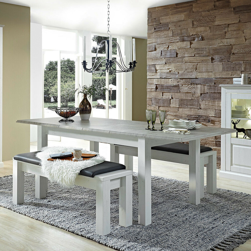esstisch lima tisch esszimmertisch ausziehbar in pinie hell und taupe 160 240 ebay. Black Bedroom Furniture Sets. Home Design Ideas