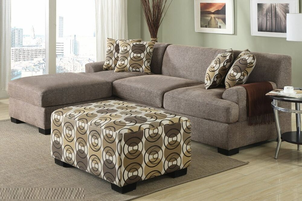 Sectional Sofa Set 3pc Slate Color Loveseat Reversible