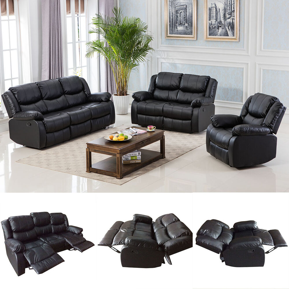 Black motion sofa loveseat recliner living room bonded for Leather furniture for small living room