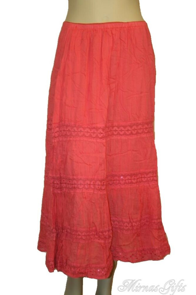 Plus Size Tiered Peasant Crinkled Skirt 1x 2x 3x 16 24
