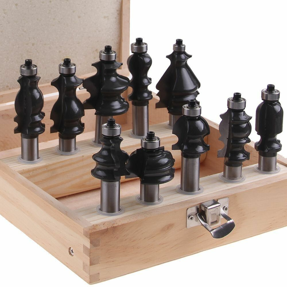 10 pieces bit architectural molding router bit set 1 2 inch shank woodworking ebay. Black Bedroom Furniture Sets. Home Design Ideas