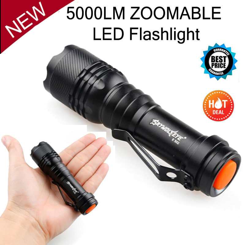 5000 lumen zoomable cree xm l q5 led flashlight torch zoom super bright light ebay. Black Bedroom Furniture Sets. Home Design Ideas