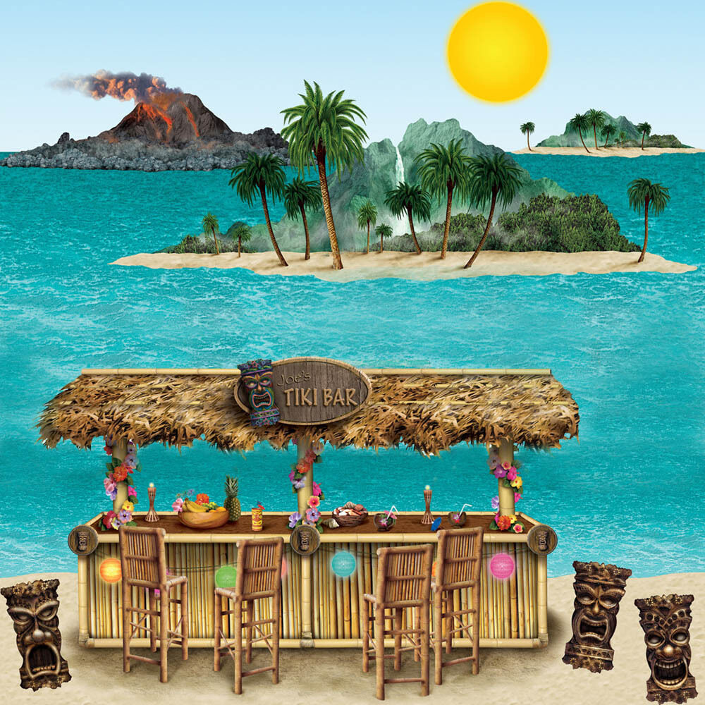 Island Beach Scenes: Hawaiian Tropical Party Scene Setter Add-on Decoration