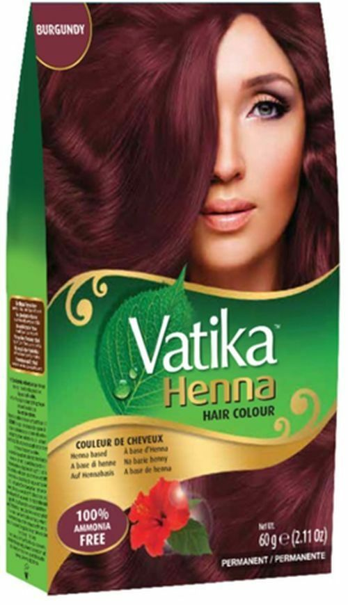 Dabur Vatika Burgundy Henna Hair Color Powder No Ammonia Free Brush