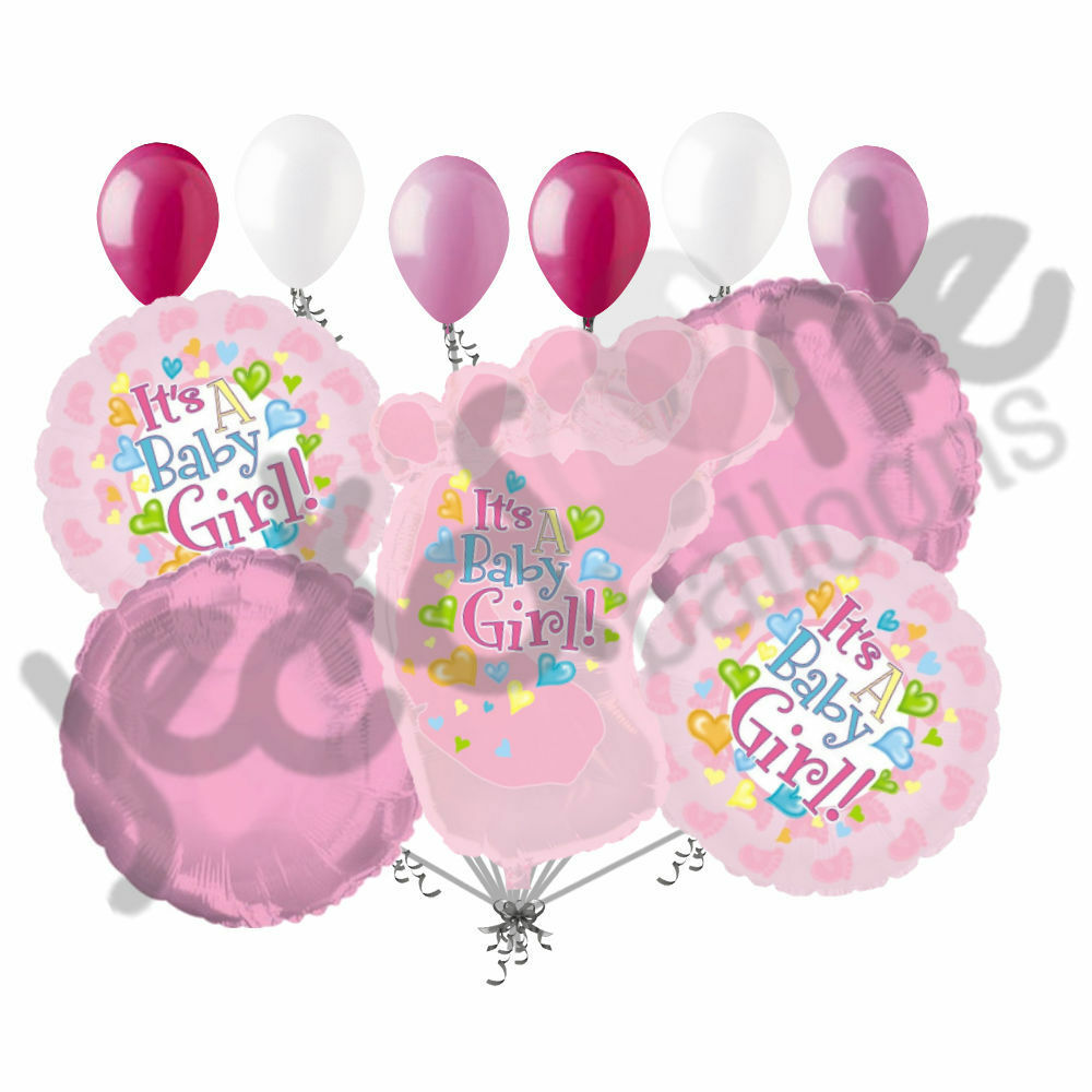 11 pc its a girl foot balloon bouquet decoration baby for It s a girl dekoration