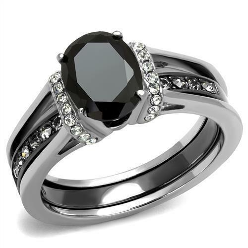2 50 Ct Oval Cut Black Cz Stainless Steel Wedding