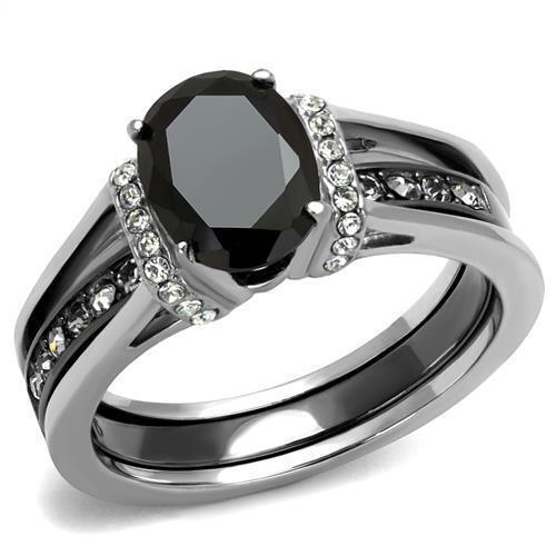 2.50 Ct Oval Cut Black CZ Stainless Steel Wedding