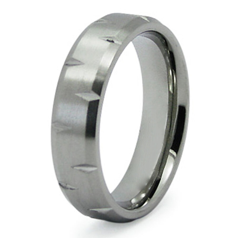 steel diamond groove personalized mens wedding band 6mm ebay