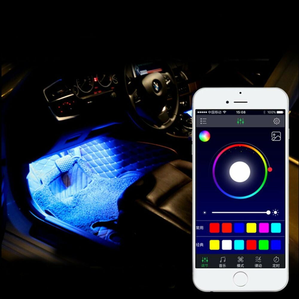 4x 9led smart phone remote control rgb car interior floor decorative light strip ebay. Black Bedroom Furniture Sets. Home Design Ideas