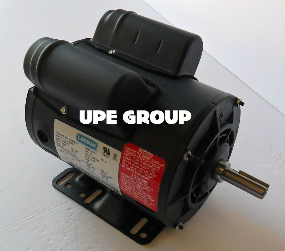 Leeson 5hp spl 15amp compressor motor 230 vac 3450 rpm 5 8 for Compressor duty electric motors