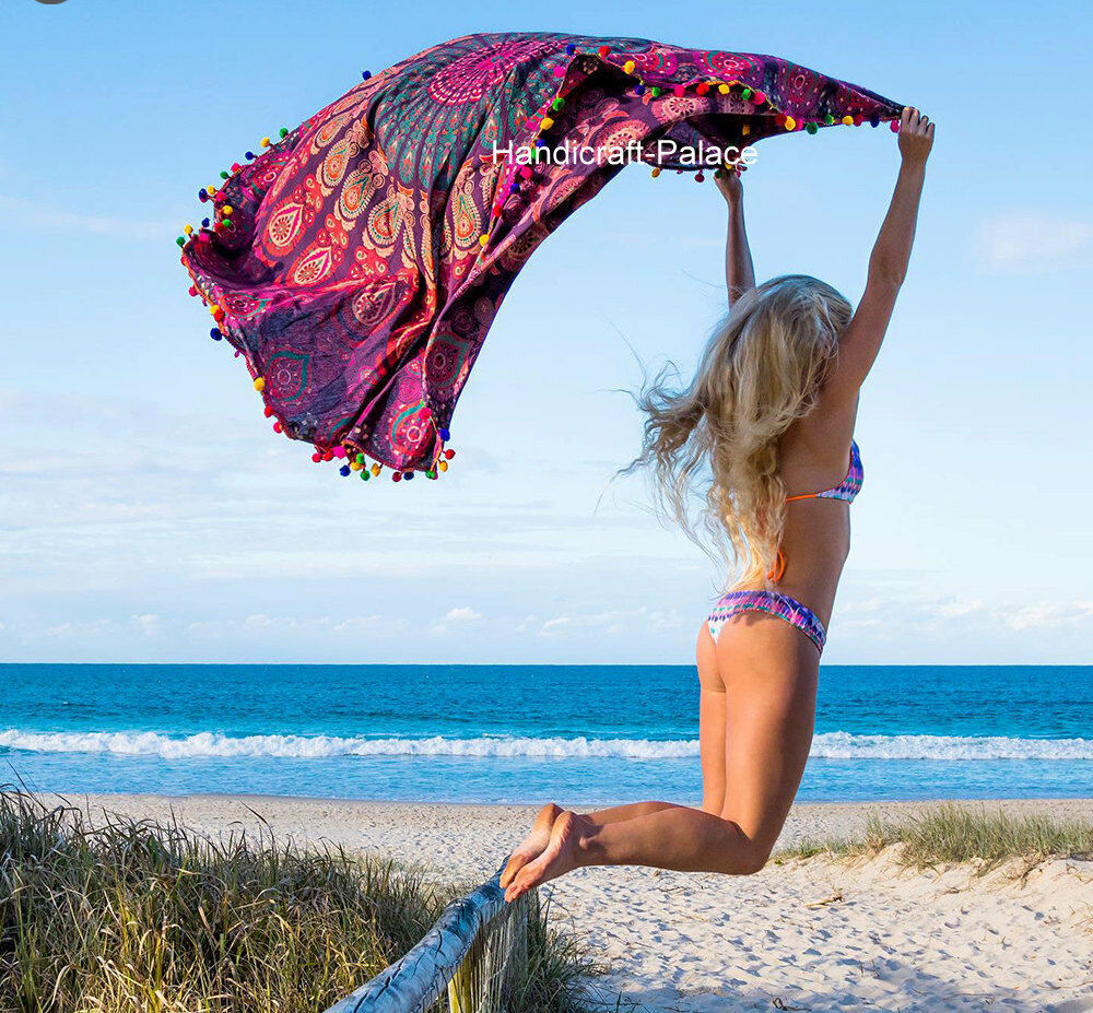 Beach Yoga Blanket: Indian Round Peacock Mandala Tapestry Wall Hanging Throw