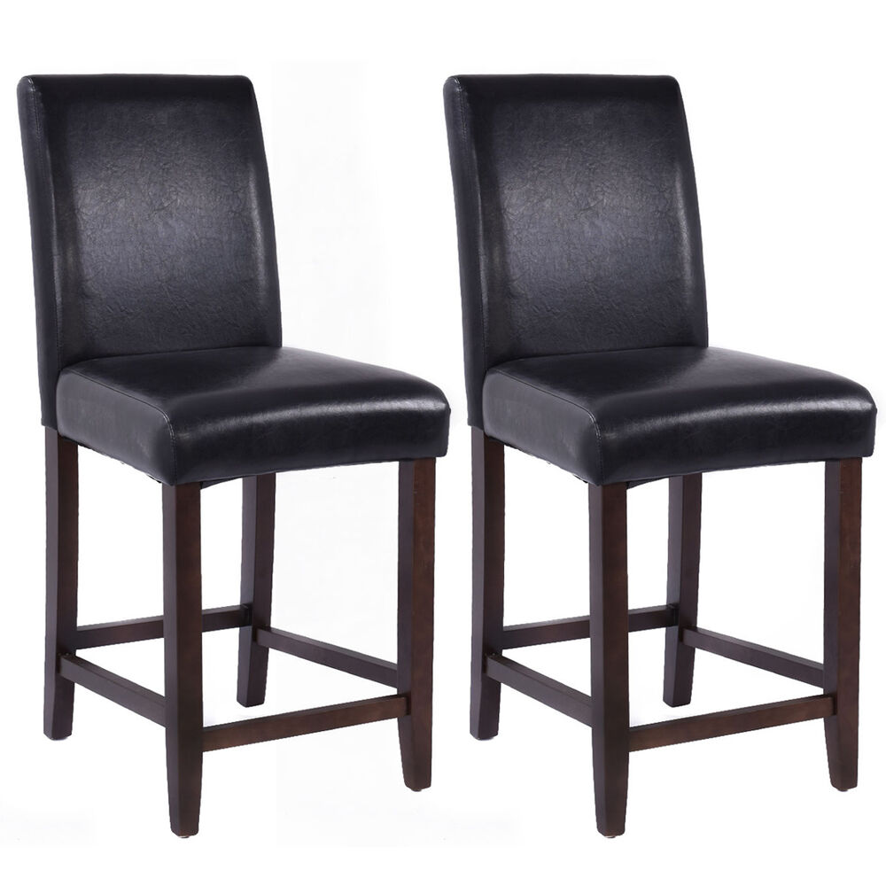 Set Of 2 Kitchen Bar Stools Padded Dining Height Wood Chairs Room Furniture New Ebay