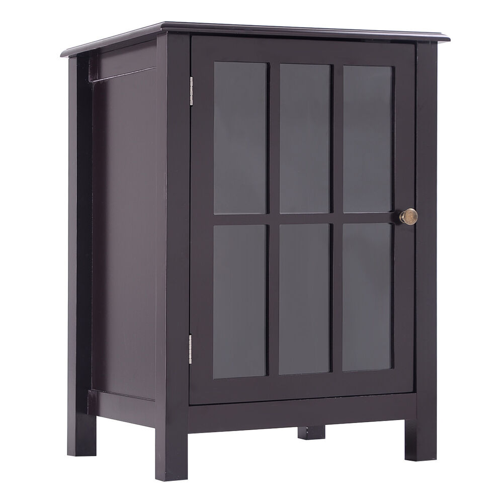 coffee cabinet one door accent cabinet storage cabinet 2 shelf display 13676