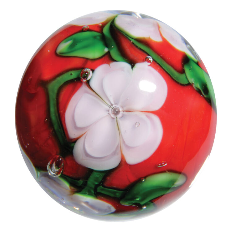 """HANDMADE GLASS MARBLE FLORALS /""""CHERRY BLOSSOM/""""  22mm SHOOTER"""