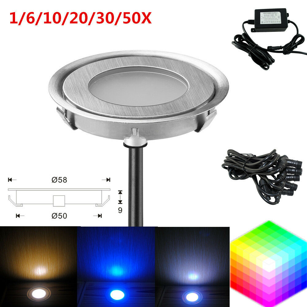 58mm 12v outdoor garden path stair floor recessed led deck inground lights set ebay. Black Bedroom Furniture Sets. Home Design Ideas