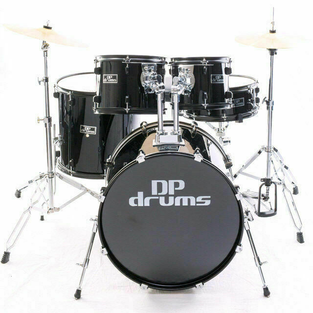 Dp Drums 5 Piece Drum Kit Green Sparkle Cymbals Stool Pro