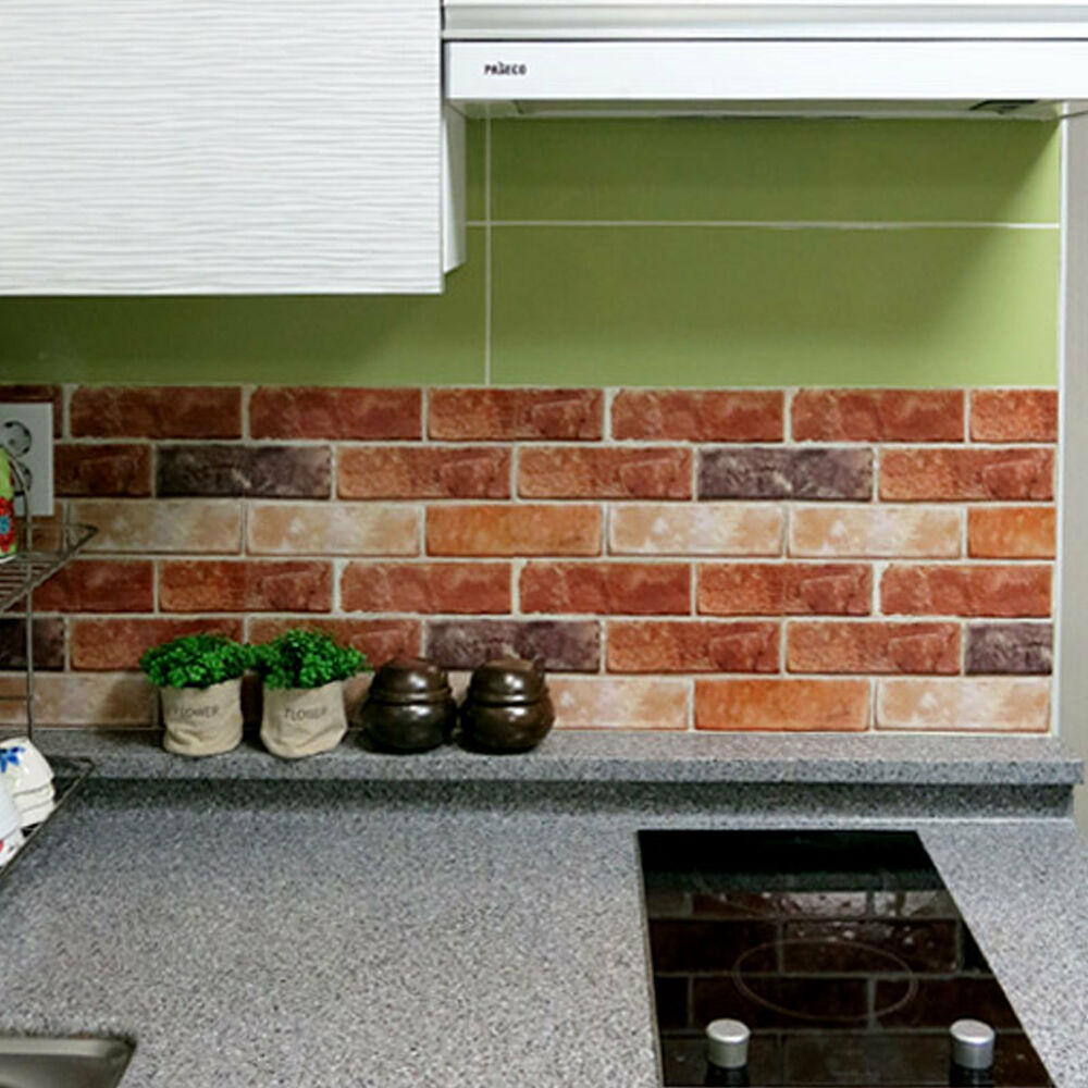 Brick Effect Tile Stickers Home Decor Kitchen Bathroom