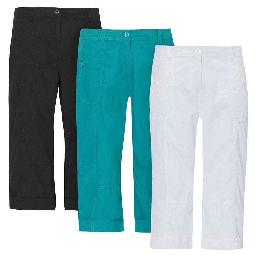 ladies womens capri pants trousers shorts cropped cotton 3 4 three quarter carla ebay. Black Bedroom Furniture Sets. Home Design Ideas