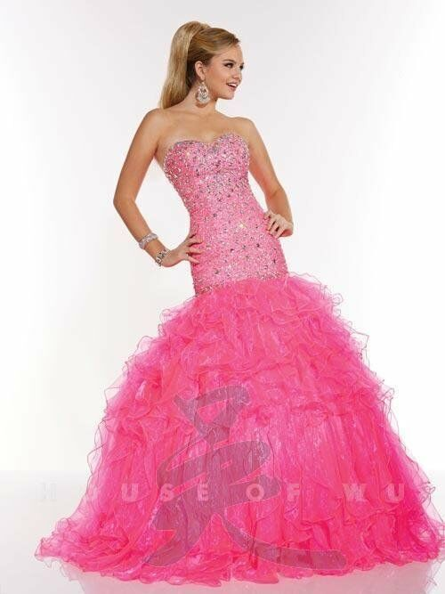 Tiffany Exclusives 46940 Neon Pink Pageant Prom Gown Dress Sz 10 Ebay