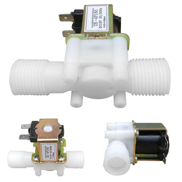 12V 1/2 N/C Plastic Electric Solenoid Valve Magnetic Water Air Normally Closed