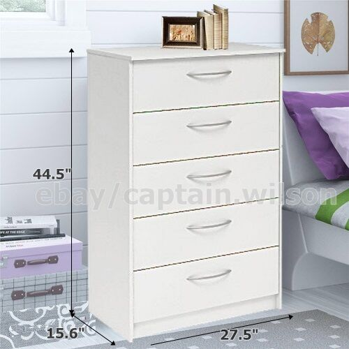 Bedroom storage dresser chest 5 drawer modern wood furniture white ebay for Bedroom set with storage drawers