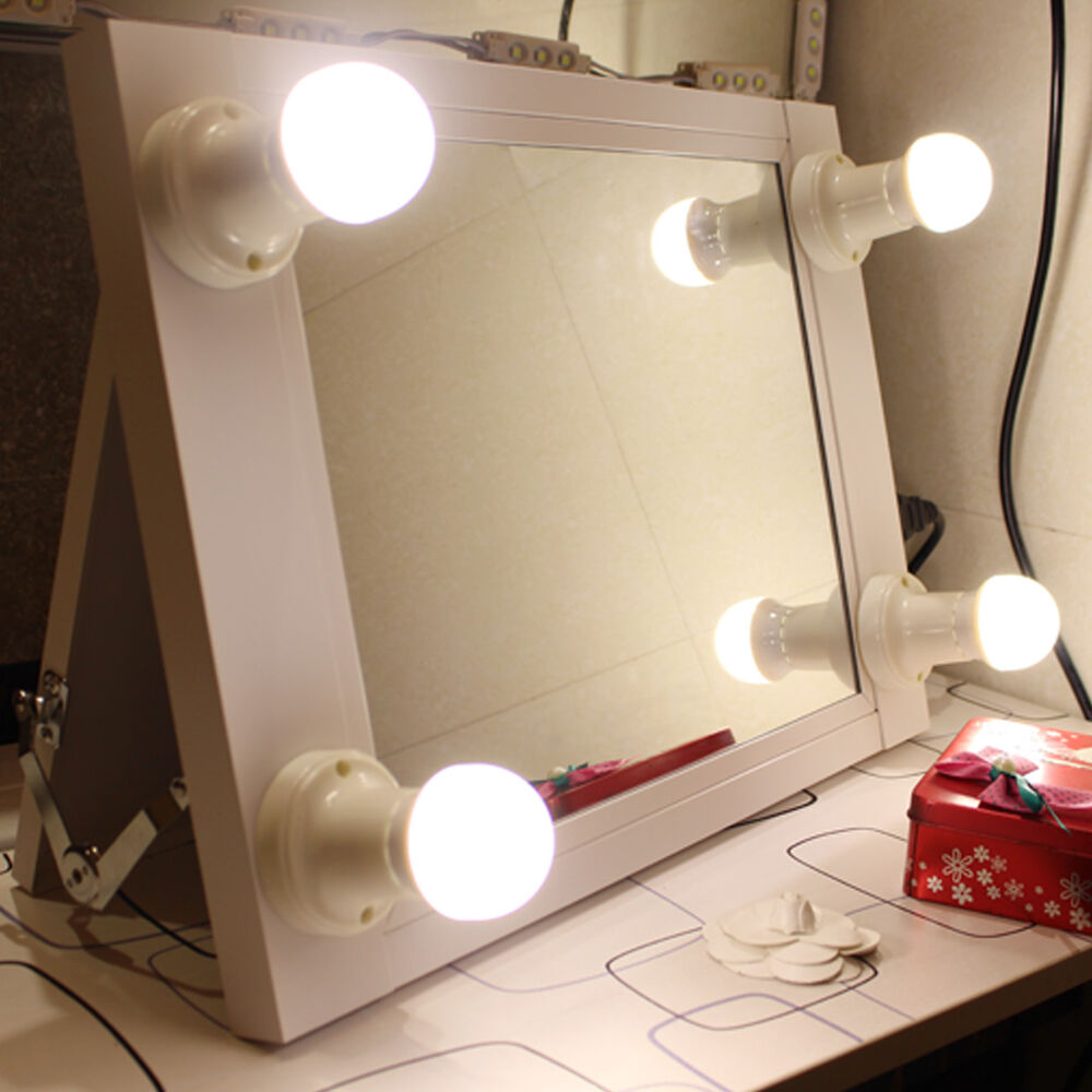 white portable hollywood lighted vanity mirror illuminate theatre makeup mirror ebay. Black Bedroom Furniture Sets. Home Design Ideas