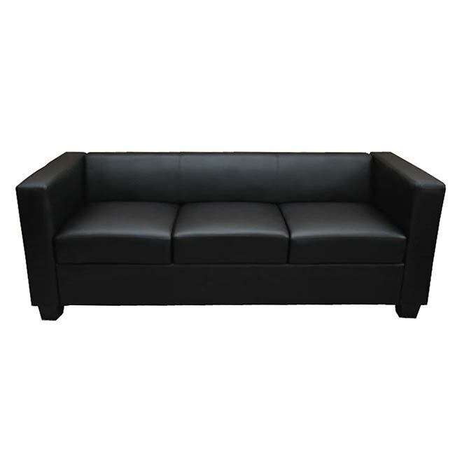 3er sofa couch loungesofa lille kunstleder schwarz 4052826125098 ebay. Black Bedroom Furniture Sets. Home Design Ideas