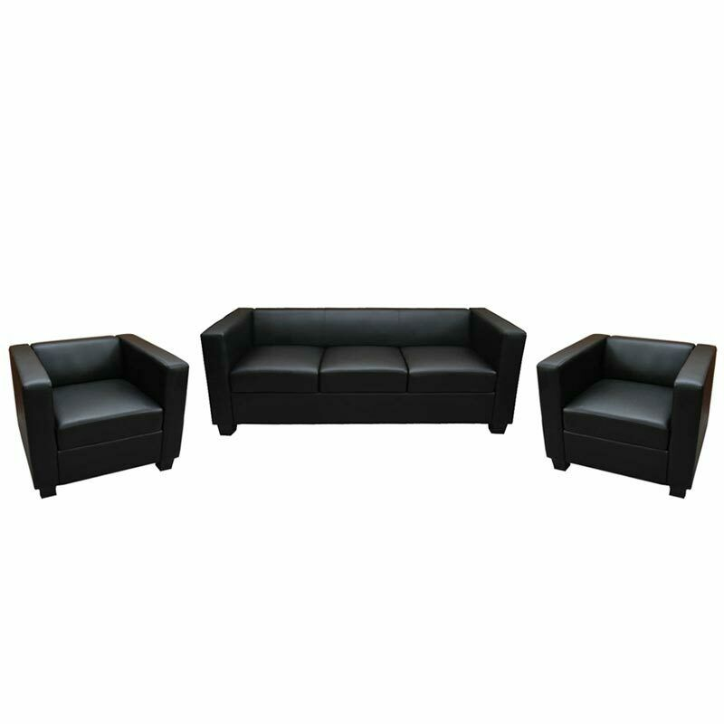 3 1 1 sofagarnitur couchgarnitur loungesofa lille kunstleder schwarz ebay. Black Bedroom Furniture Sets. Home Design Ideas
