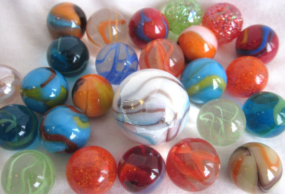 Glass Marbles Game : Mixed assortment game marbles shooter red blue yellow